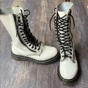 Dr. Martens AirWair white patent leather boots 6